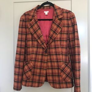 Halogen burnt orange and maroon plaid wool blazer